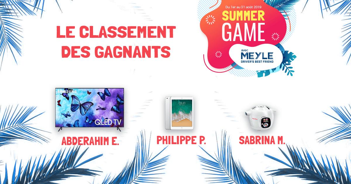 Liste des gagnants – Summer Game 2019